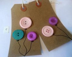 Pair of handmade vintage style luggage (gift) tags - button balloons