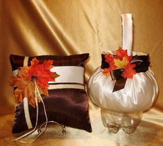 Custom Flower Girl Basket  & Pillow  Fall Trim THESE LOVELY ITEMS ARE AVAILABLE IN MY STORE ON EBAY  PLEASE SEE GIDESIGNS  OR KRINGLE3 FOR ALL MY CUSTOM MADE ITEMS IN THE COLORS OF YOUR CHOICE TO MAKE YOUR WEDDING DAY SPECIAL AND UNIQUE.