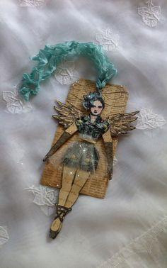 Christmas Art Tag Paper Doll Mixed Media Ballerina by ParisPluie, $10.00