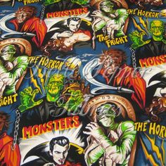 Robert Kaufman Horror Movie Fabric 1 yard. $11.00, via Etsy.