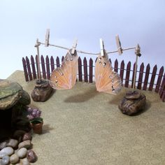 Fairy Garden clothes line and fairy wings by Peggers on Etsy