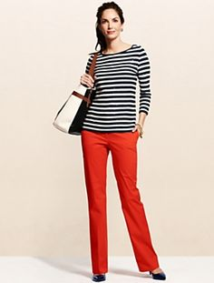 Browse our modern classic selection of women's clothing, jewelry, accessories and shoes. Talbots offers apparel in misses, petite, plus size and plus size petite. Red Outfits For Women, Clothes For Women, Work Clothes, Office Outfits, Casual Outfits, Fashion Outfits, Work Outfits, Red Pants, Striped Tee