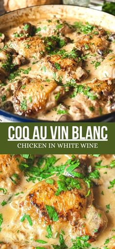 Succulent chicken with cremini mushrooms braised in white wine and a splash of cream. I present to you Coq au Vin Blanc! Thyme Recipes, Wine Recipes, Cooking Recipes, Healthy Recipes, Recipes With White Wine, Skinny Recipes, Delicious Recipes, Braiser Recipes, Braised Chicken Thighs
