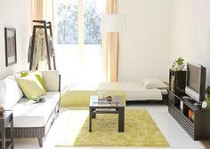 Green and White studio apartment White Studio Apartment, One Room Apartment, Studio Apt, Small Room Layouts, Small Room Design, Lofts, Japanese Home Decor, Contemporary Home Decor, Minimalist Interior