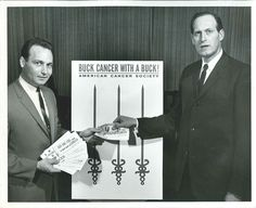"""This photograph depicts Ron Stephenson, Assistant Executive Secretary of the American Cancer Society, Lake County Unit and Milton Roth, Chairman, Gary Crusade. It is dated """"1965 Crusade"""" on the back. From my personal collection."""
