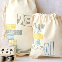 Stamped bags to simulate washi tape