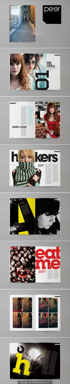 Peer Magazine by Paul Fox - bold typography, relying on a main block colour per layout and strong images. Statement pages which are relaticely simple.