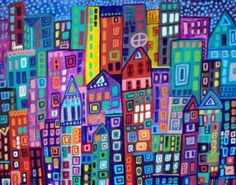 Abstract Modern City Art NYC New york Print Poster of Painting 11x14 signed colorful artwork by Heather Galler- Wedding Gifts. $24,00, via Etsy.
