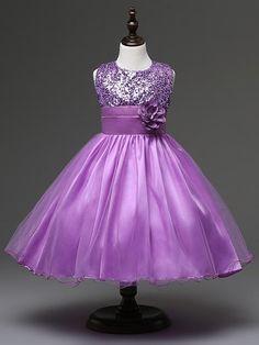 dbafbb888 Baby Girls Flower Sequins Dress High quality Party Princess Dress Children  Kids Clothes Outfits. Flower Girl DressesWedding ...