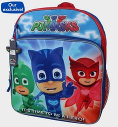 """PJ Masks Owlette, Gekko and Catboy """"It's Time To Be A Hero!"""" 14 inch Backpack with Side Mesh Pockets - Toys """"R"""" Us http://fave.co/2dzQILC"""