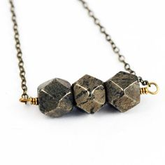 Pyrite Nuggets Necklace Bead Bar Necklace by valeriegeometric