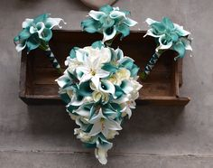 Calla Lily Bridal Bouquet, Calla Lily Wedding, Cascading Wedding Bouquets, Bridesmaid Bouquet, Rose And Lily Bouquet, Bridesmaids, Bridesmaid Dresses, Wedding Dresses, Teal Wedding Flowers