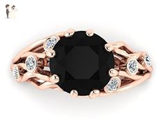 Black Diamond In Rose Gold, 14k Rose Solid Gold, Black Diamond Engagement & Proposal Ring, Diamond Engagement Ring, Boho Engagement Ring, Veins Meaningful Ring. - Wedding and engagement rings (*Amazon Partner-Link)
