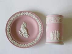 Wedgwood pink jasper - late 20rh century (left) and 19th century bas relief (right).