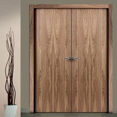Sanrafael Lisa Flush Double Fire Door - L70 Style Walnut Prefinished. #walnutdesignerdoubledoors #walnutdoubledoors #designerdoubledoors