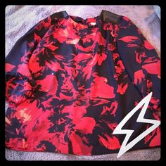 Floral Blouse with Leather Shoulder detail A gorgeous navy blue, red, and black blouse. 3/4-length sleeves. Worn less than a handful of times. Loose blouson sort of fit, even in the sleeves. Merona Tops Blouses