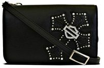Harley-Davidson® Women's Back Roads Studded Cross with Crystal Embellished Bar and Shield® Crossbody Black Leather W10296