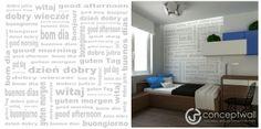 """Fototapeta z napisem """"dzień dobry"""" sprawi, że każdy dzień będzie wspaniały.  Mural with the inscription """"good morning"""" make that every day will be great.  #fototapety #wnetrza #murals #wallpaper #moderninteriors #salon #dodatki"""
