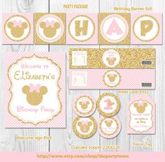 Pink and Gold Minnie Mouse Birthday Party Package, First, 1st Birthday Decoration, Gold Glitter, Polka Dot invite, Girl, Printable pack