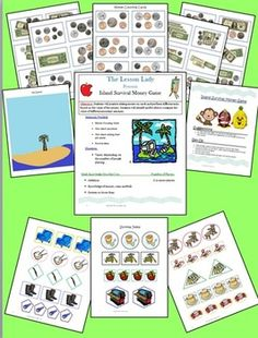 Island Survival Money Counting Game! Students will use their money counting skills to select survival items for their island. Available for purchase.