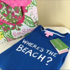 "NWT-Lilly Pulitzer Marielle sweater NWT-Lilly Pulitzer ""where's the beach?"" sweater in Brewster blue. Perfect condition. Very flattering fit! Dress form bust size is 35"" and sweater fits it perfectly. Sleeve length-24"". 100% cotton. (Bag not included). Lilly Pulitzer Sweaters Crew & Scoop Necks"