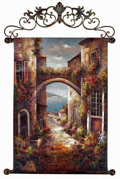 Decorating in Tuscan Style? Spruce up your walls with the Archway to the Sea Canvas Wall Hanging Tuscany Decor, World Decor, Tuscan House, Mediterranean Home Decor, Tuscan Decorating, Decorating Ideas, Foyer Decorating, Kitchen Wall Art, Kitchen Paint