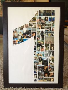My one year anniversary gift to my husband. A large 1 with a collage of pictures of us during our first year of marriage.