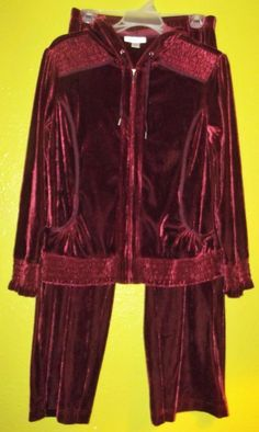 Coldwater Creek Petite Small velour Velvet Track suit Burgundy Dressy Running PS #ColdwaterCreek #TrackSweatSuits