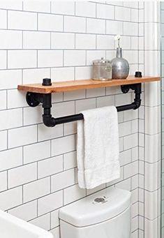 Industrial towel rack shelf Rustic Bathroom Accessory Black Iron Pipe wall hanging industrial décor bathroom décor home