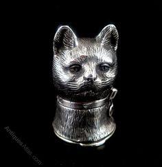 Antiques Atlas - SUPERB SOLID SILVER NOVELTY CAT VESTA