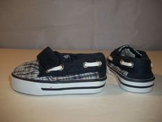 Circo Baby Toddler Boys Shoes Boat Deck Slip On Navy Blue Plaid Prewalk's Size 3 #Circo #CasualShoes