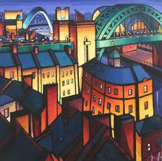 2 Newcastle Bridges by Jim Edwards Colorful Artwork, Cool Artwork, Landscape Paintings, Landscapes, Unique Buildings, Building Art, Discord, Contemporary Paintings, Newcastle
