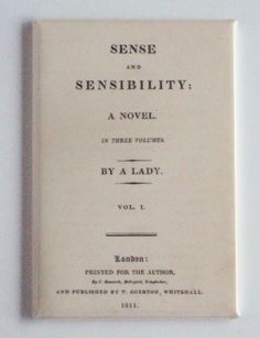 Sense and Sensibility FRIDGE MAGNET first edition cover page book jane austen