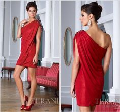 AH219 Unique Design Sexy Cute Sheath One-Shoulder Red Stretch Satin Short Mini Red Italian Cocktail Dresses $128.00