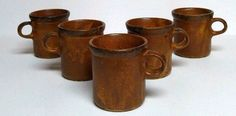McCoy Pottery Canyon Mesa Lancaster Colony Cup Coffee Mug Stoneware 5pc Vintage