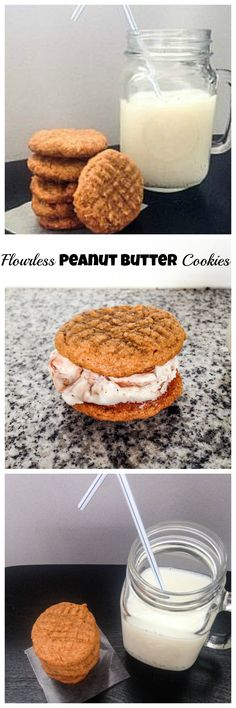 Flourless Peanut Butter Cookies - These 4 ingredient gluten free treats are so good!