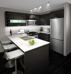 Popular Grey Kitchen to Maximize Your Work in Preparing Delicious Meals: Fantastic Simple Grey Kitchen Scheme With Kitchen Table And Contemporary Stools On Wooden Flooring Also Railing Track Lighting Decoration ~ sagatic.com Decoration Inspiration