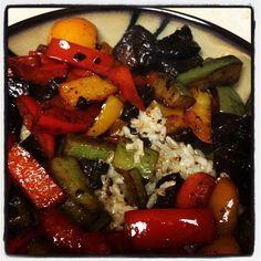 portobello mushroom and veggies with brown rice