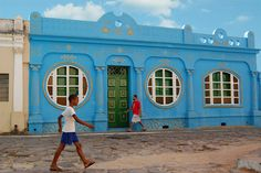 Surprising blue house!  Goias Velho, Brazil