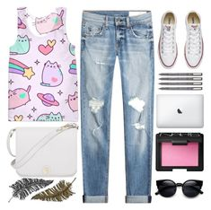 """Cat's smile.. 😸"" by itaylorswift13 ❤ liked on Polyvore featuring Pusheen, rag & bone, Converse, Furla, Paperself and NARS Cosmetics"