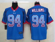 Men's NFL Buffalo Bills #94 Mario Williams Drift Fashion Blue Elite Jersey