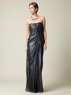 J.Mendel  Silk Chiffon Ruffle Gown  $1,049 Gilt