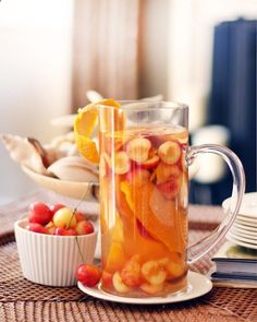 peach and orange.....really great idea for iced tea, using fresh fruit