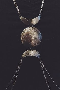 Triple Goddess Body Chain // etched and hand hammered low dome lunar pendant // gunmetal // the Satellite Collection from Mod Evil on Etsy, $170.00
