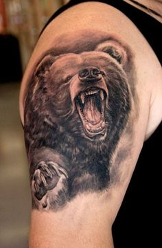 3D realistic naturally colored furious bear biceps tattoo - Tattoos ...