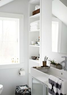 50 Amazing Scandinavian Bathroom Designs - love the sink and glass cabinet
