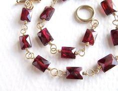 Petite Faceted Garnet Bracelet in Gold, Handmade Gemstone Jewelry, Garnet Jewelry. $53.00, via Etsy.