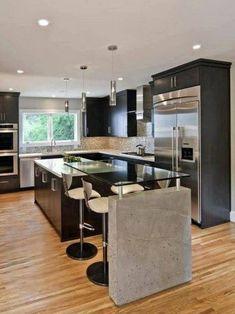 32 Stunning Modern Contemporary Kitchen Cabinet Design - Home Design Minimalist Kitchen Design, Interior Design Kitchen, Kitchen Cabinet Design, Kitchen Styling, Rustic Kitchen Cabinets, Contemporary Kitchen Cabinets, Stylish Kitchen, Modern Kitchen Plans, Contemporary Kitchen