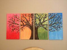 bäume Leinwandbilder gestalten diy jahreszeiten