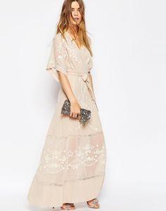 Image 4 ofASOS PREMIUM Embroidered Kimono Maxi Dress